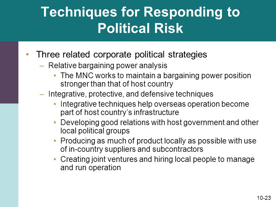 Techniques for Responding to Political Risk