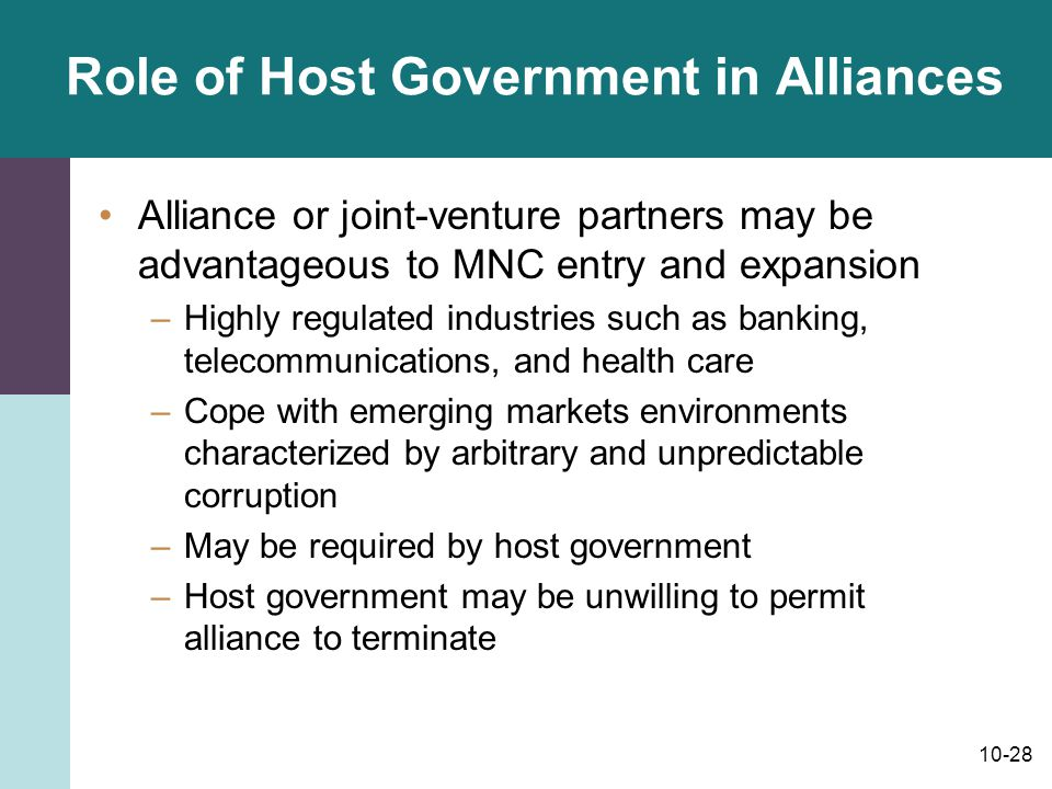 Role of Host Government in Alliances