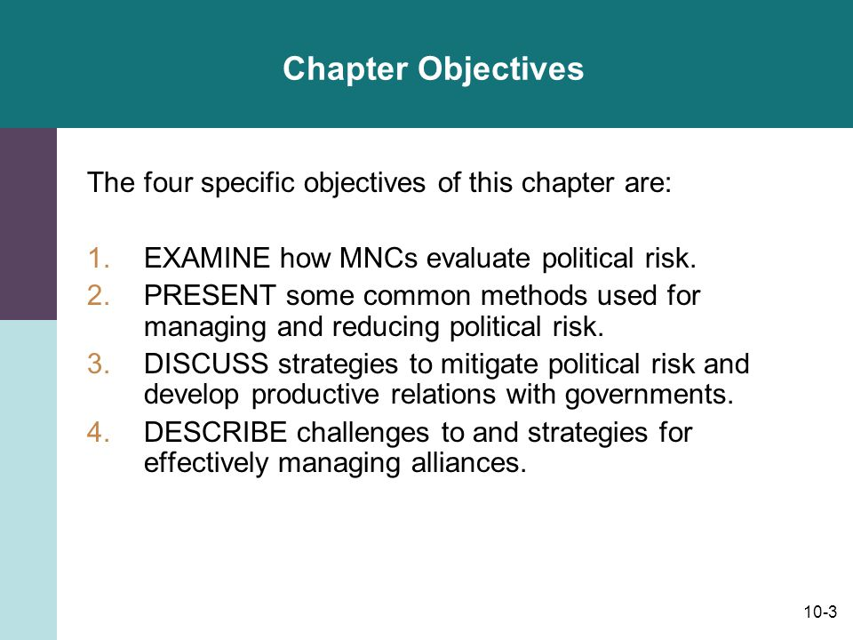 Chapter Objectives The four specific objectives of this chapter are: