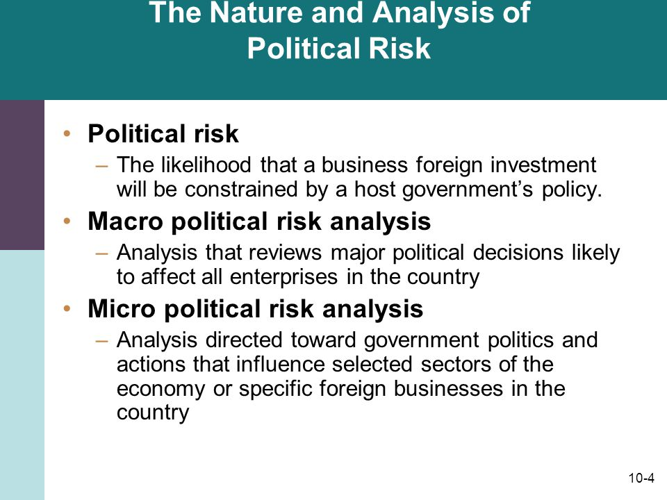 The Nature and Analysis of Political Risk