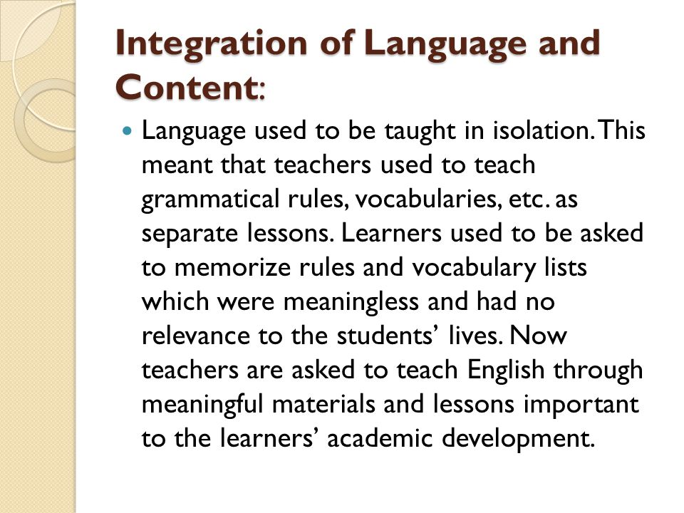 Integration of Language and Content: