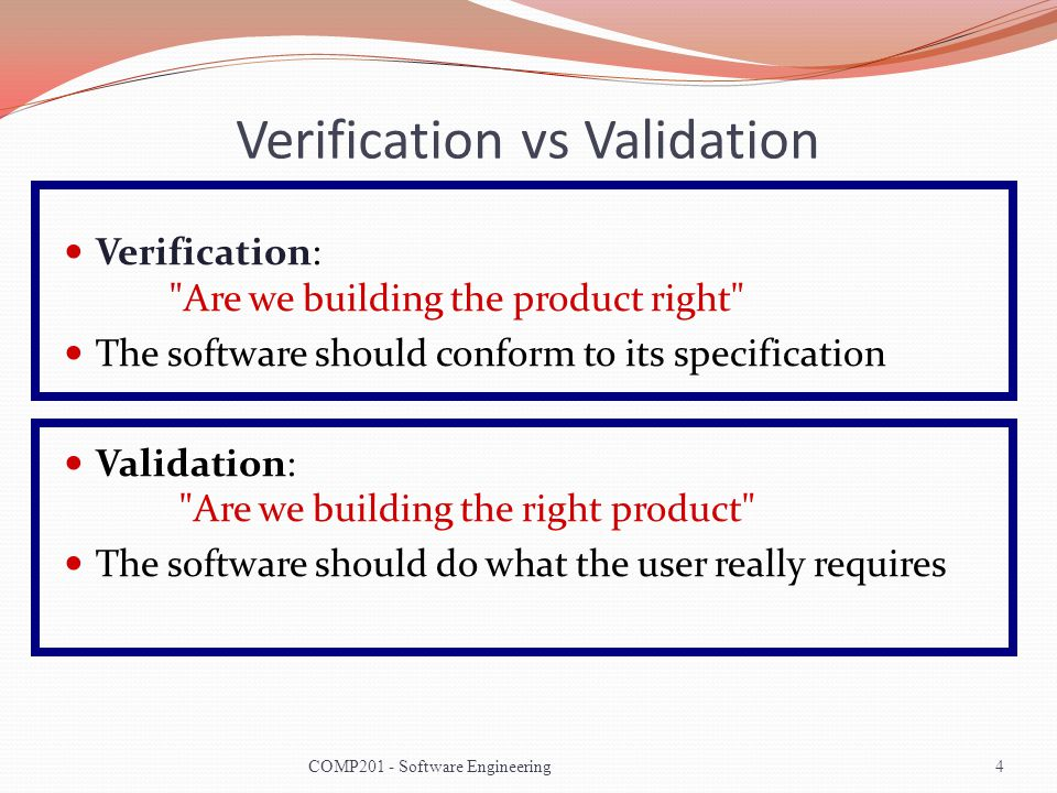 verification vs validation essay Iso9001 design verification vs design validation author: mark hammar probably the most misunderstood concept in the design requirements of iso 9001, if not the entire standard, is the difference between design verification and design validation these two steps are distinctly different, and important in a good design process.