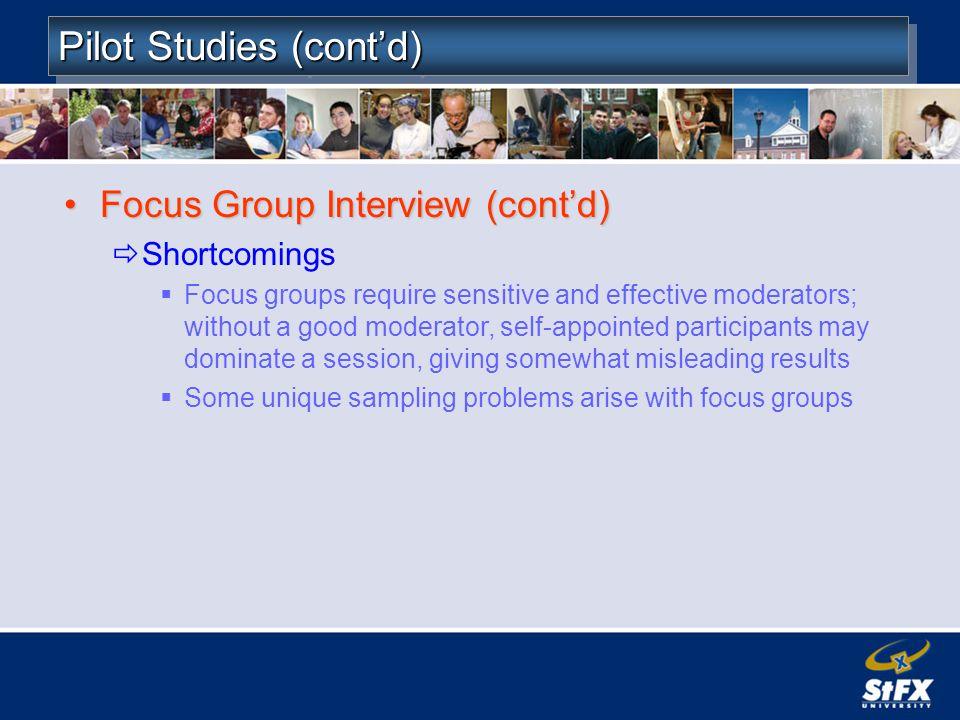 Pilot Studies (cont'd)