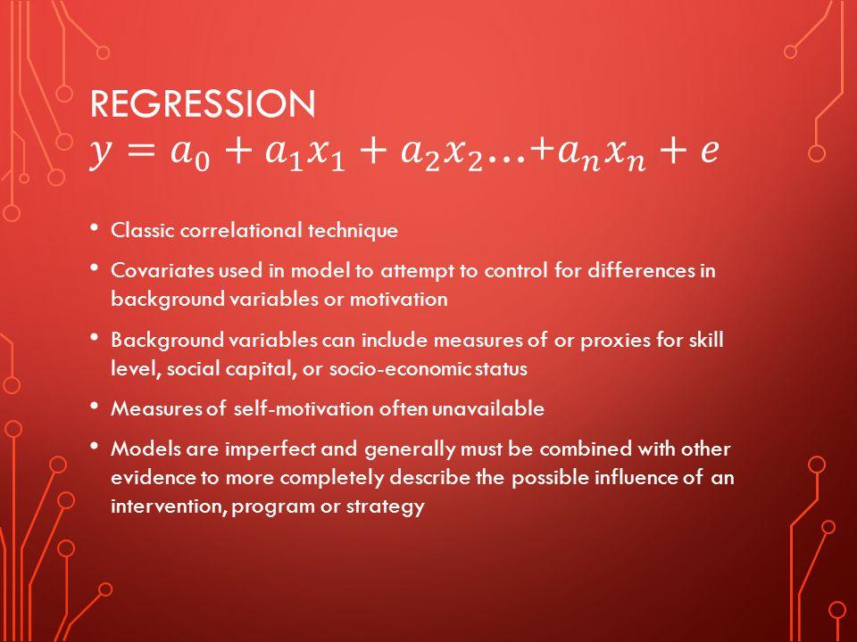 Regression 𝑦= 𝑎 0 + 𝑎 1 𝑥 1 + 𝑎 2 𝑥 2 …+ 𝑎 𝑛 𝑥 𝑛 +𝑒