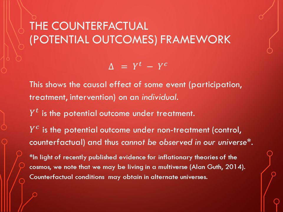 The Counterfactual (potential outcomes) framework