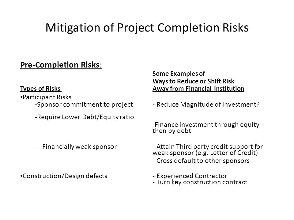 Mitigation of Project Completion Risks