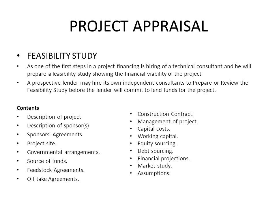 PROJECT APPRAISAL FEASIBILITY STUDY