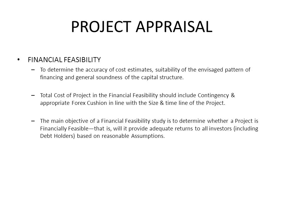 PROJECT APPRAISAL FINANCIAL FEASIBILITY