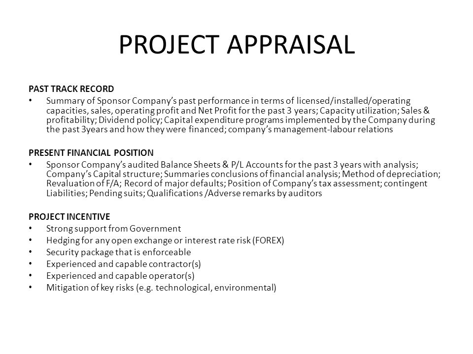 PROJECT APPRAISAL PAST TRACK RECORD
