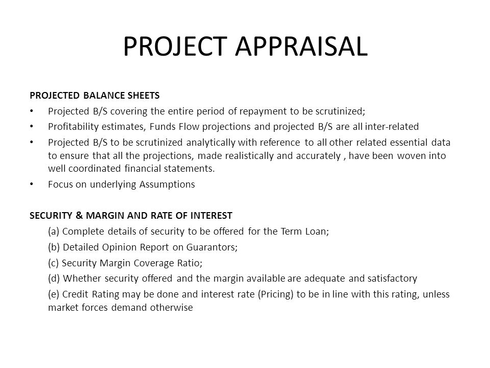 PROJECT APPRAISAL PROJECTED BALANCE SHEETS