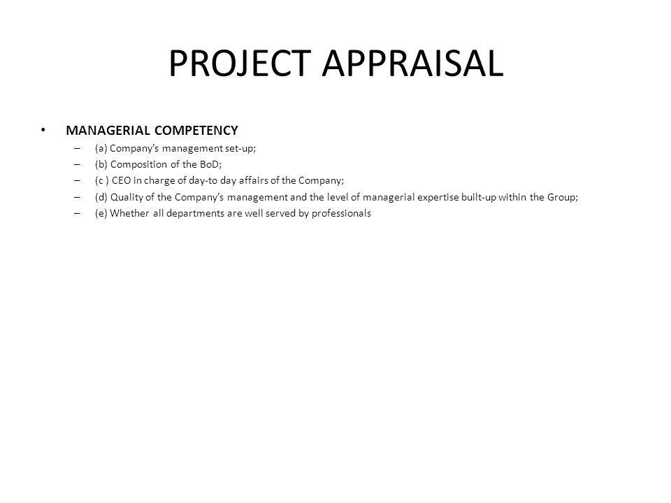 PROJECT APPRAISAL MANAGERIAL COMPETENCY