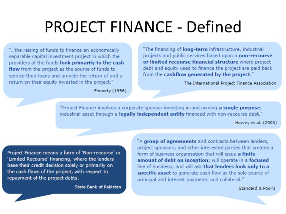 PROJECT FINANCE - Defined