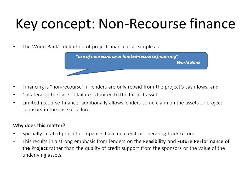 Key concept: Non-Recourse finance