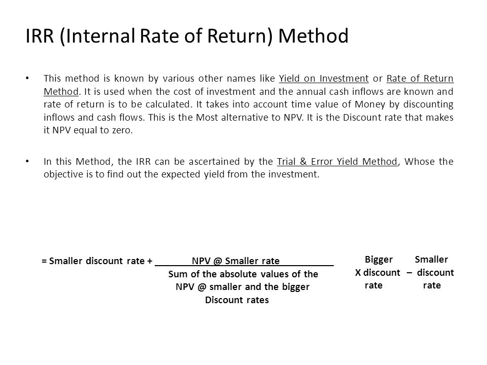 IRR (Internal Rate of Return) Method