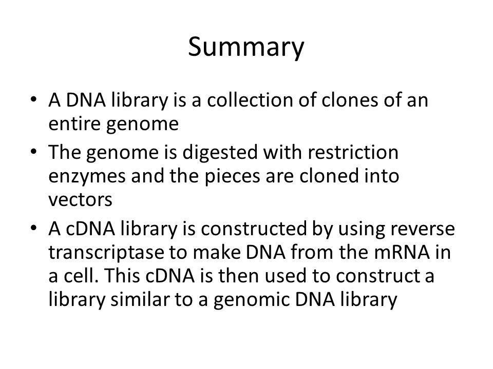 Summary A DNA library is a collection of clones of an entire genome