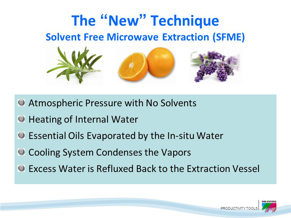 The New Technique Solvent Free Microwave Extraction (SFME)
