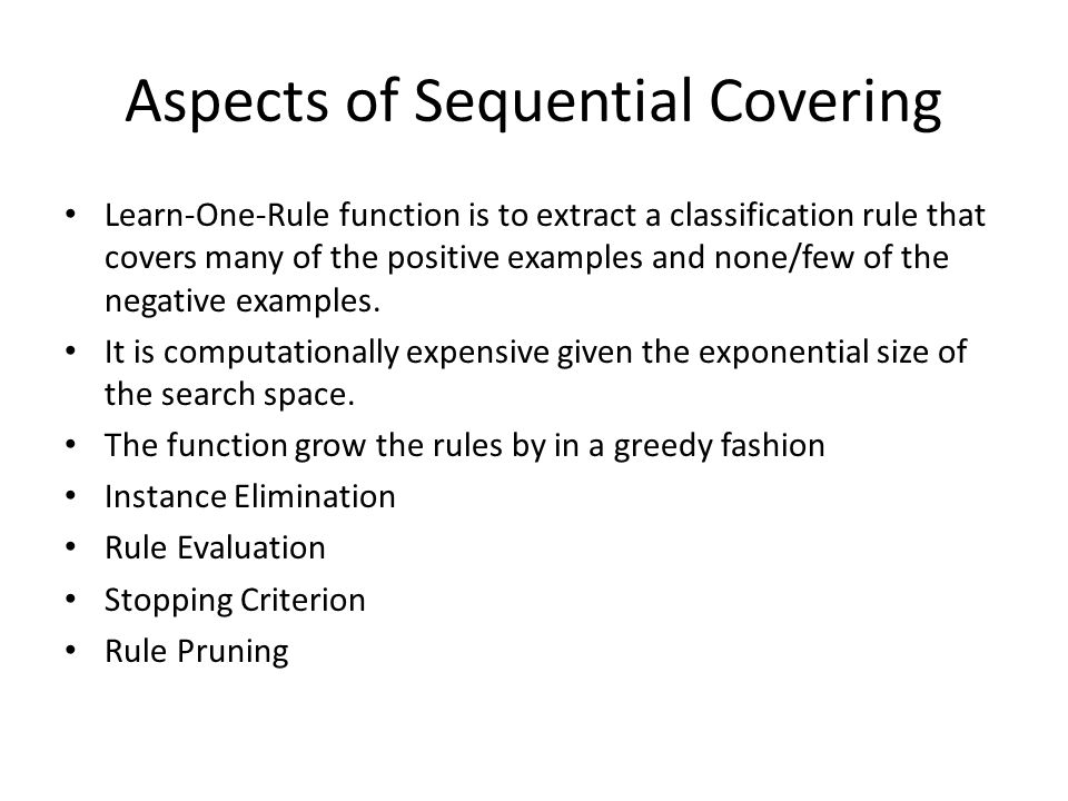 Aspects of Sequential Covering
