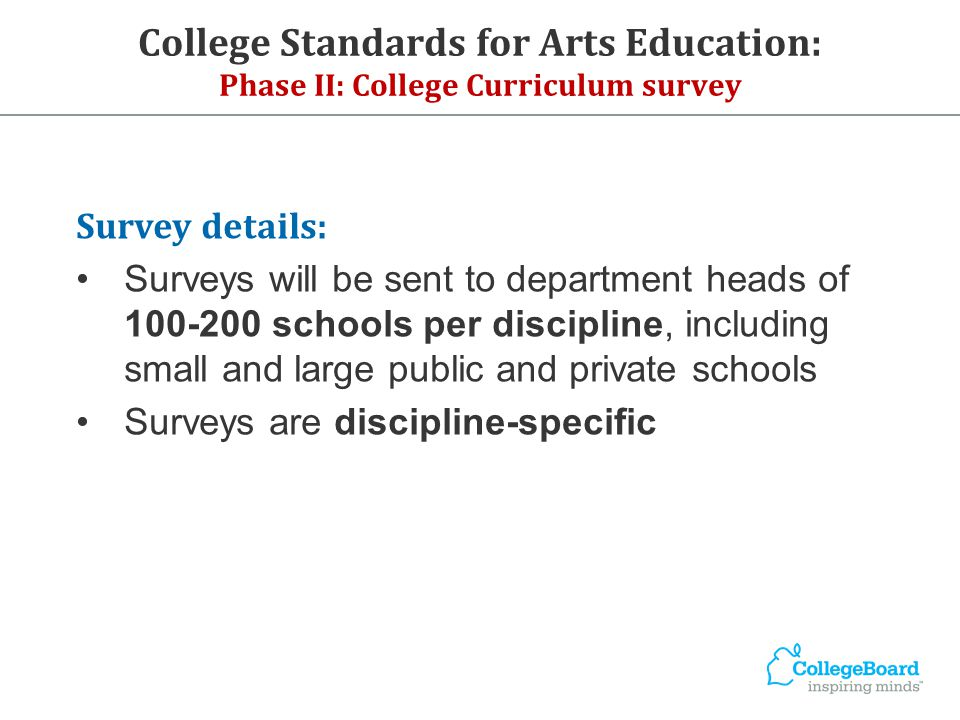 College Standards for Arts Education: Phase II: College Curriculum survey