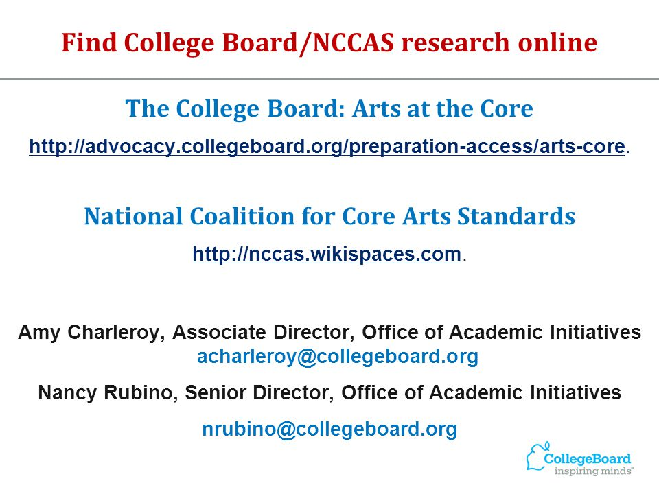 Find College Board/NCCAS research online