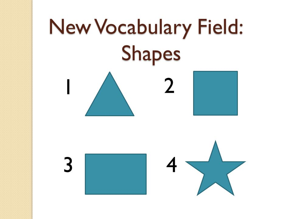 New Vocabulary Field: Shapes 1 2 3 4