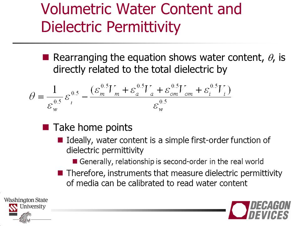 Volumetric Water Content and Dielectric Permittivity