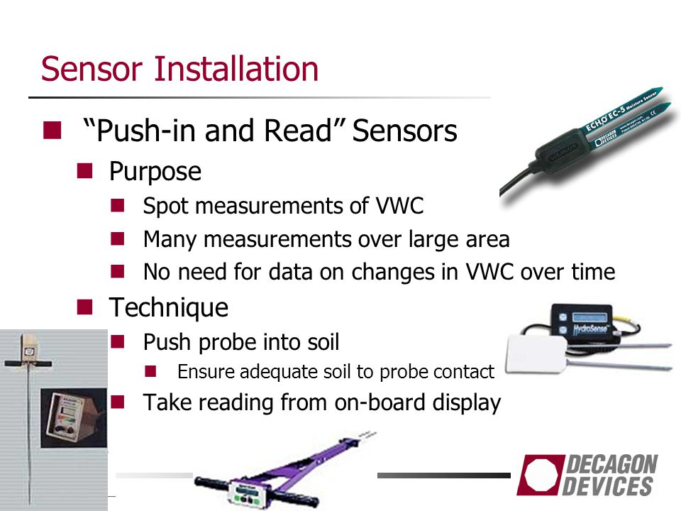 Sensor Installation Push-in and Read Sensors Purpose Technique