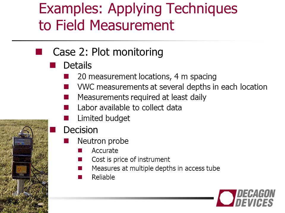 Examples: Applying Techniques to Field Measurement