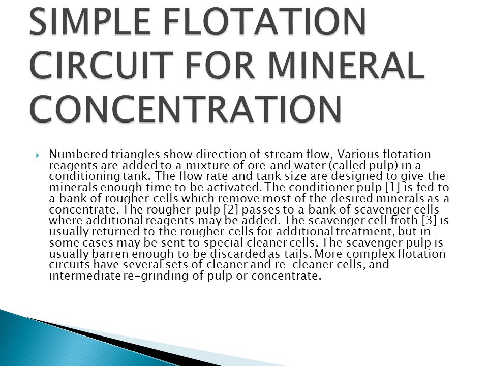 SIMPLE FLOTATION CIRCUIT FOR MINERAL CONCENTRATION
