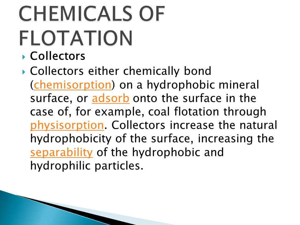 CHEMICALS OF FLOTATION