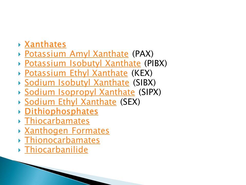 Xanthates Potassium Amyl Xanthate (PAX) Potassium Isobutyl Xanthate (PIBX) Potassium Ethyl Xanthate (KEX)