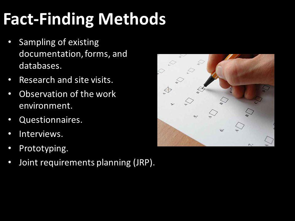Fact-Finding Methods Sampling of existing documentation, forms, and databases. Research and site visits.