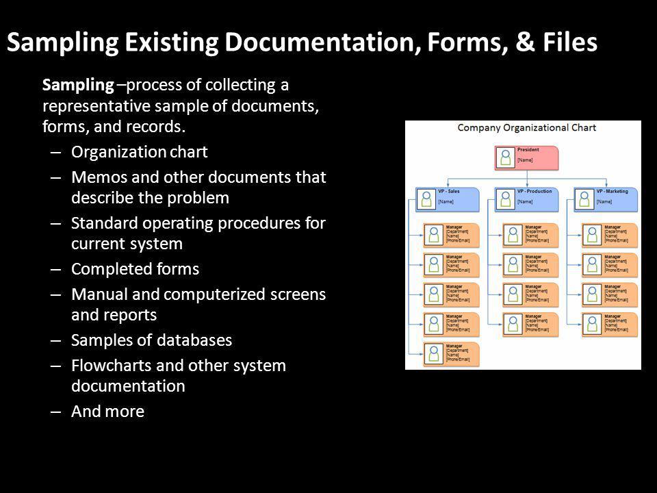Sampling Existing Documentation, Forms, & Files