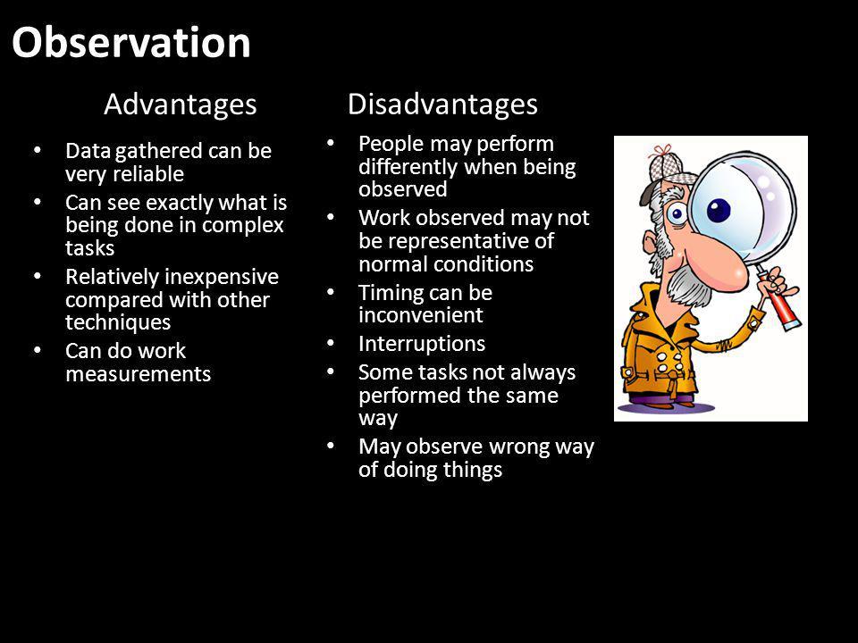 Observation Advantages Disadvantages