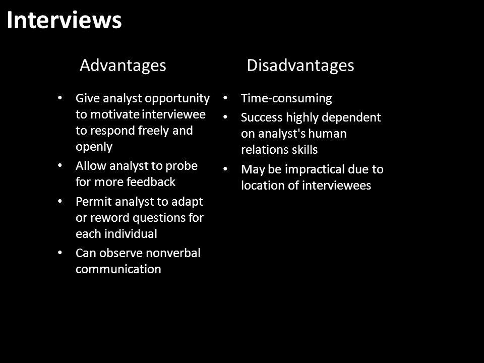 Interviews Advantages Disadvantages