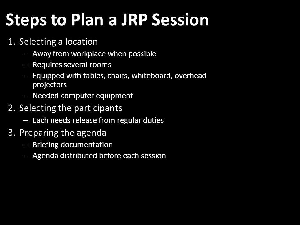 Steps to Plan a JRP Session