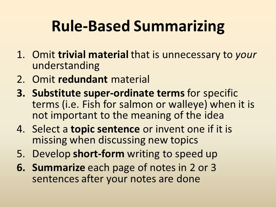 Rule-Based Summarizing