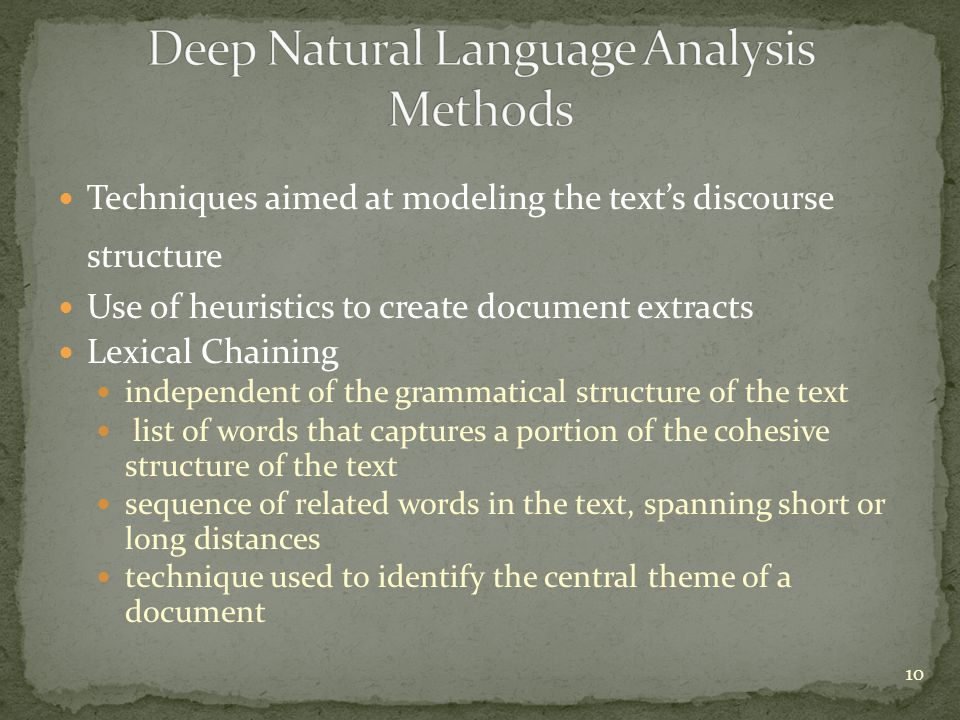 Deep Natural Language Analysis Methods