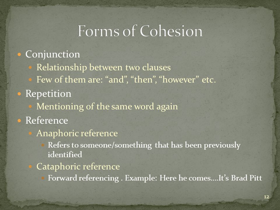 Forms of Cohesion Conjunction Repetition Reference