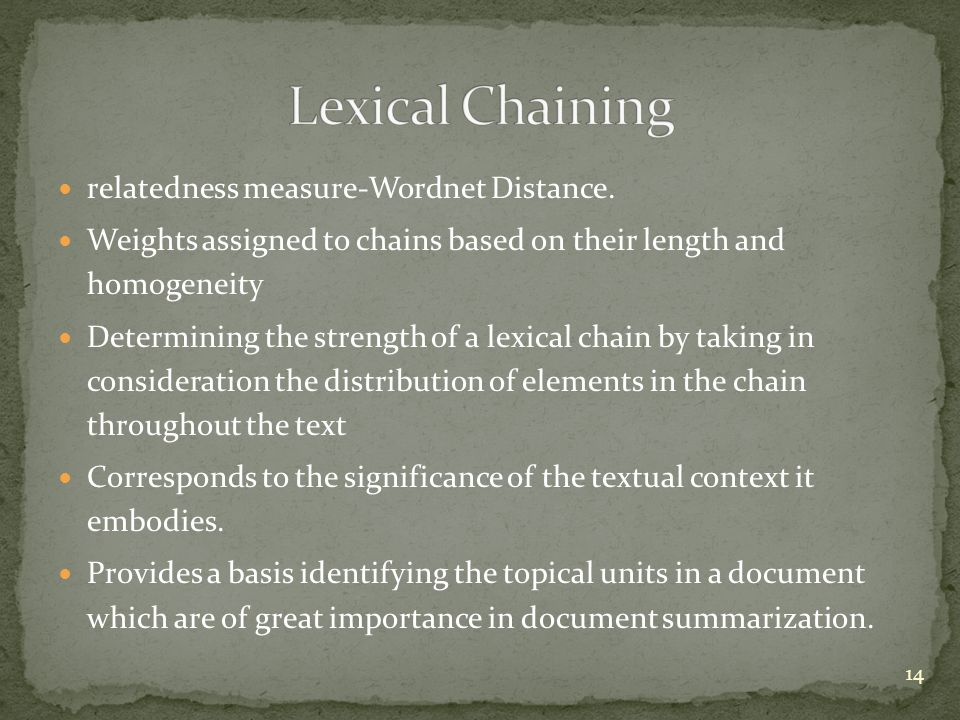 Lexical Chaining relatedness measure-Wordnet Distance.
