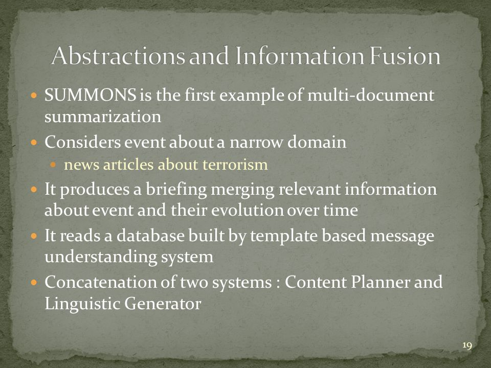 Abstractions and Information Fusion