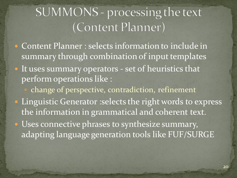 SUMMONS - processing the text (Content Planner)