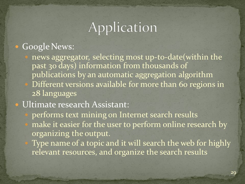 Application Google News: Ultimate research Assistant: