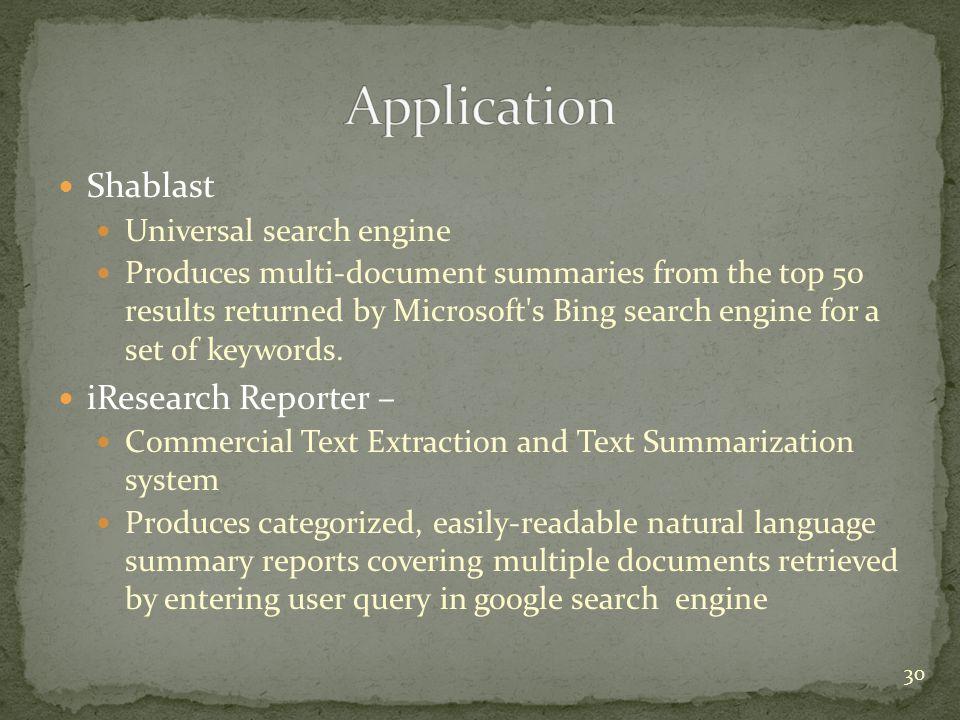 Application Shablast iResearch Reporter – Universal search engine
