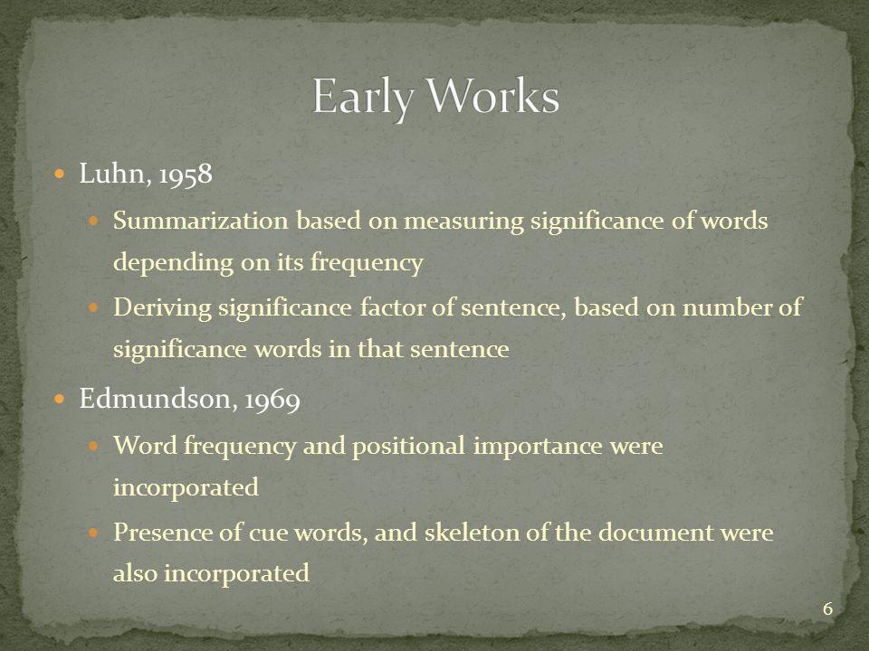 Early Works Luhn, 1958 Edmundson, 1969