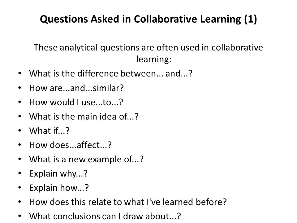Questions Asked in Collaborative Learning (1)