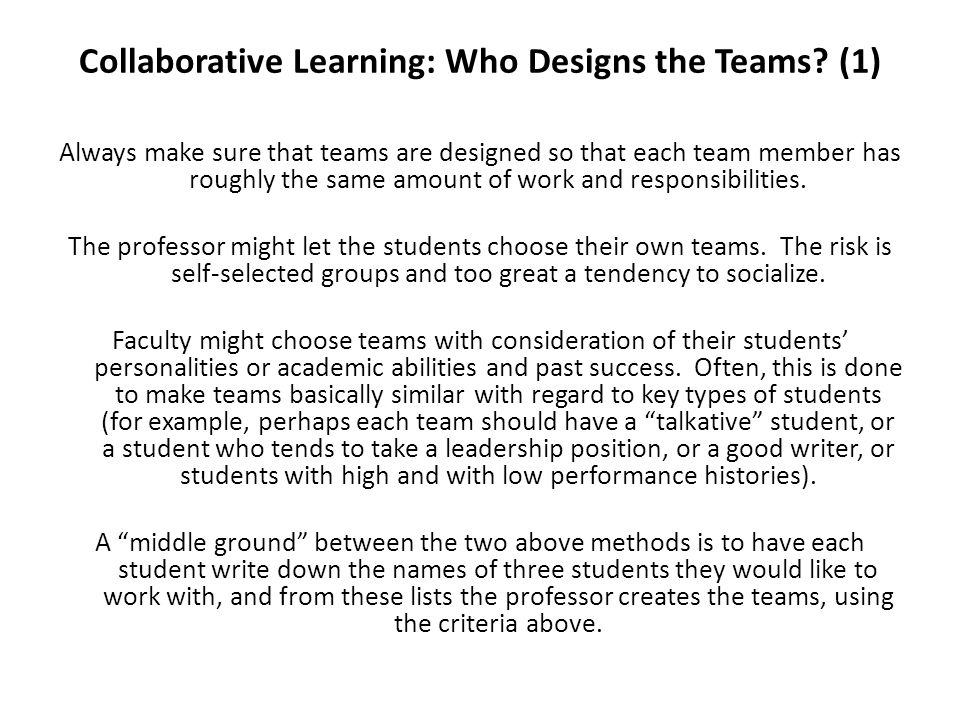 Collaborative Learning: Who Designs the Teams (1)
