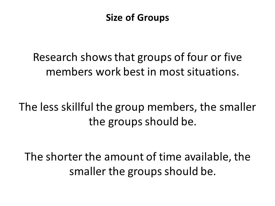 Size of Groups