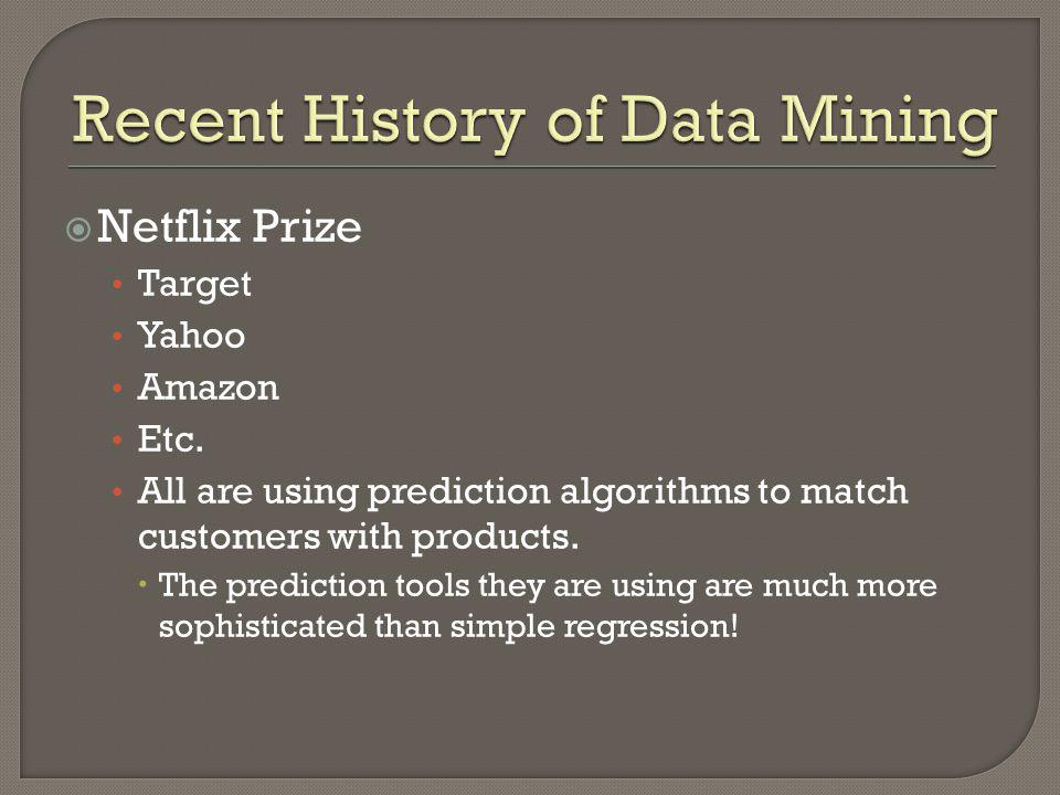 Recent History of Data Mining