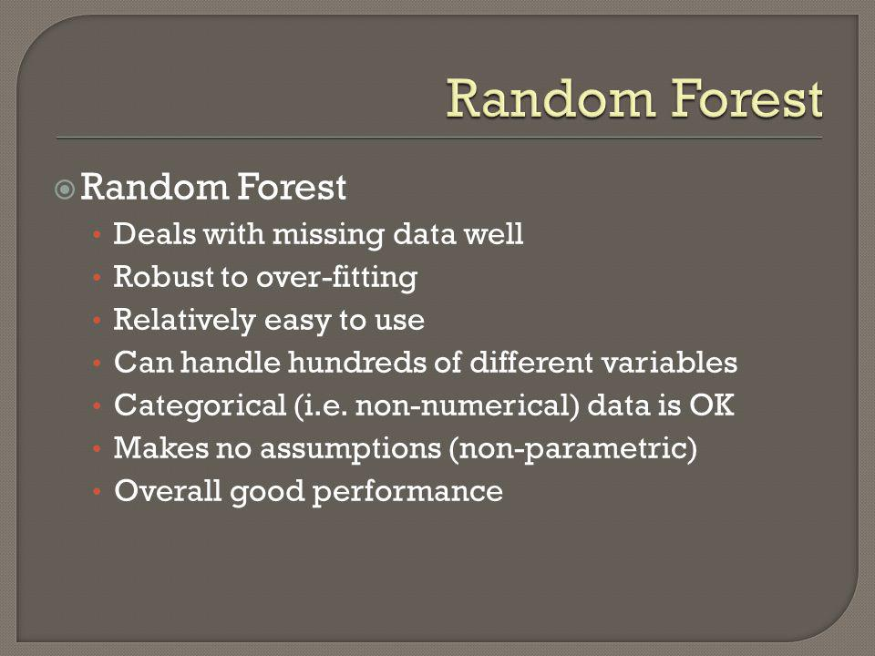 Random Forest Random Forest Deals with missing data well