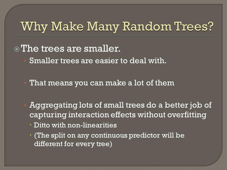 Why Make Many Random Trees